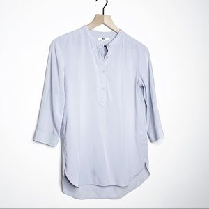 Uniqlo Rayon Stand Collar 3/4 Sleeve Henley Blouse